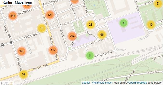 Karlín - mapa rozložení firem v části obce.