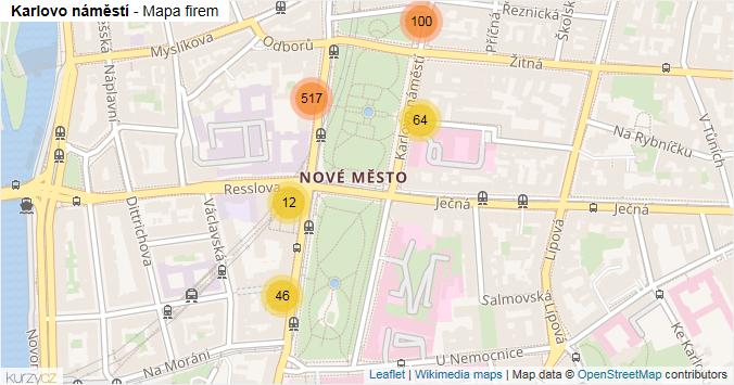 Karlovo náměstí - mapa rozložení firem v ulici.