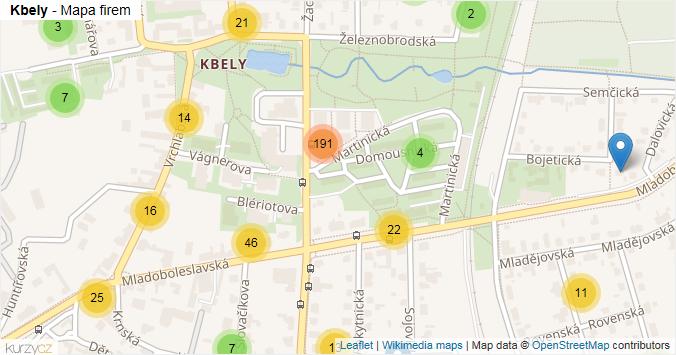 Kbely - mapa rozložení firem v části obce.