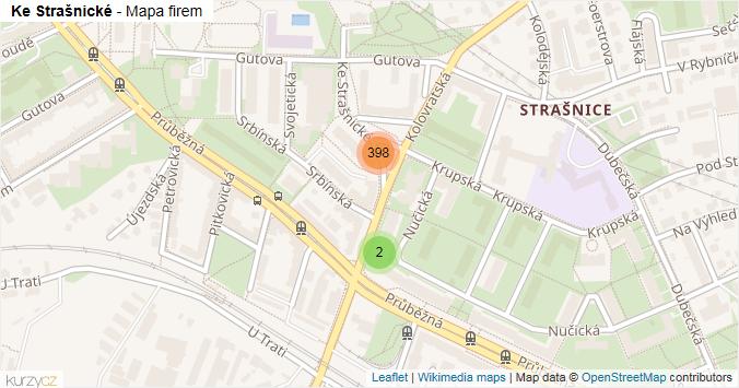 Ke Strašnické - mapa rozložení firem v ulici.