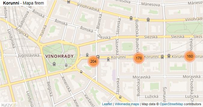 Korunní - mapa rozložení firem v ulici.