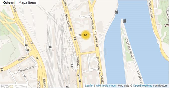 Kotevní - mapa rozložení firem v ulici.