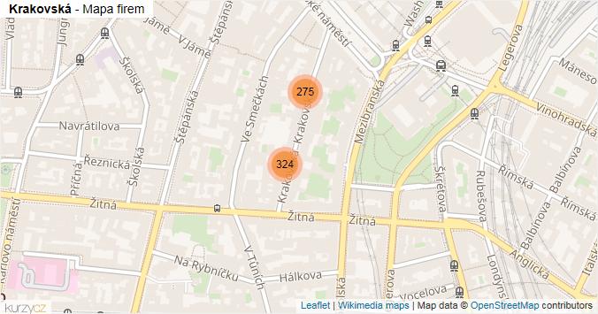 Krakovská - mapa rozložení firem v ulici.