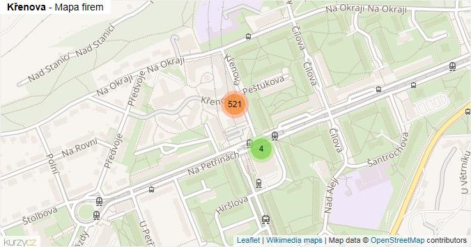 Křenova - mapa rozložení firem v ulici.