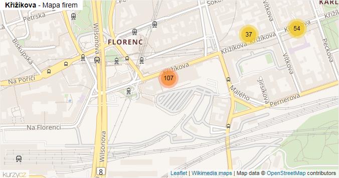 Křižíkova - mapa rozložení firem v ulici.