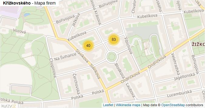 Křížkovského - mapa rozložení firem v ulici.