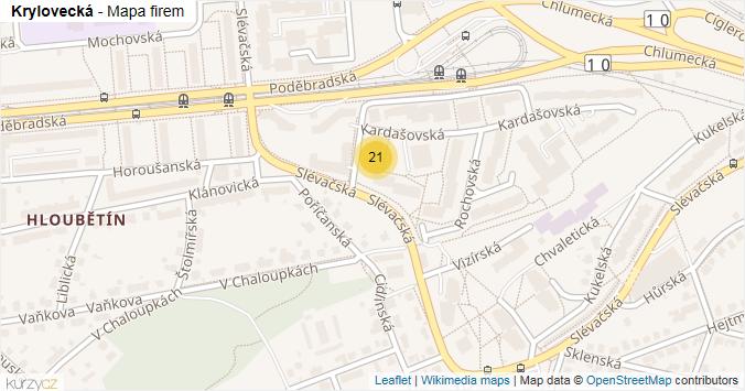Krylovecká - mapa rozložení firem v ulici.