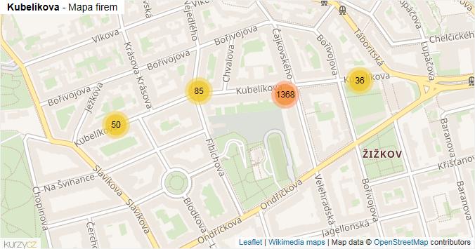 Kubelíkova - mapa rozložení firem v ulici.