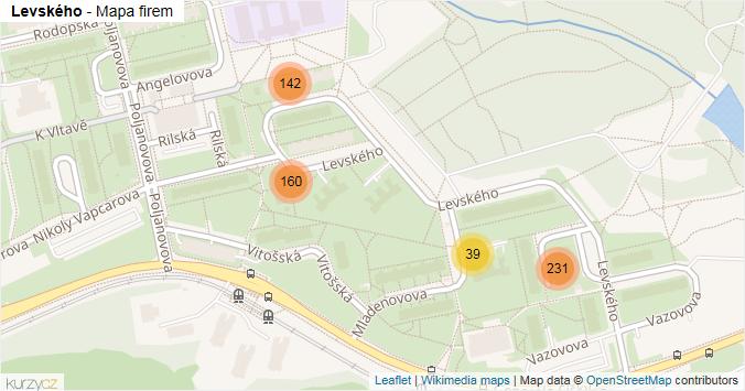 Levského - mapa rozložení firem v ulici.