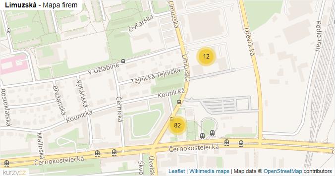 Limuzská - mapa rozložení firem v ulici.