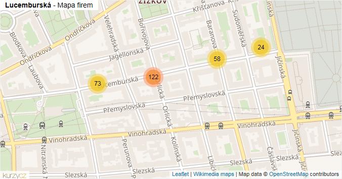 Lucemburská - mapa rozložení firem v ulici.