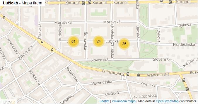 Lužická - mapa rozložení firem v ulici.