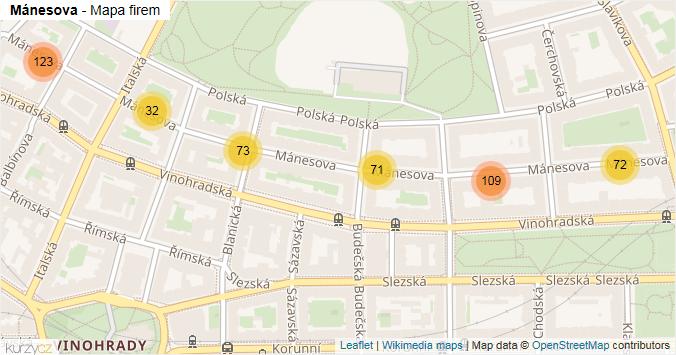 Mánesova - mapa rozložení firem v ulici.