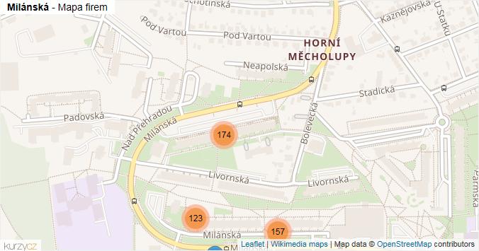 Milánská - mapa rozložení firem v ulici.