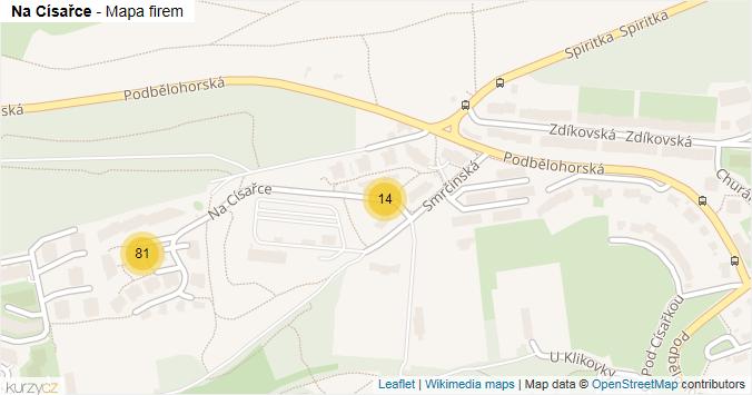 Na Císařce - mapa rozložení firem v ulici.