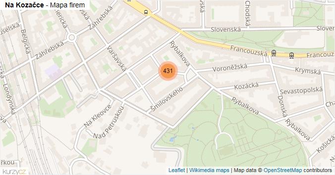 Na Kozačce - mapa rozložení firem v ulici.