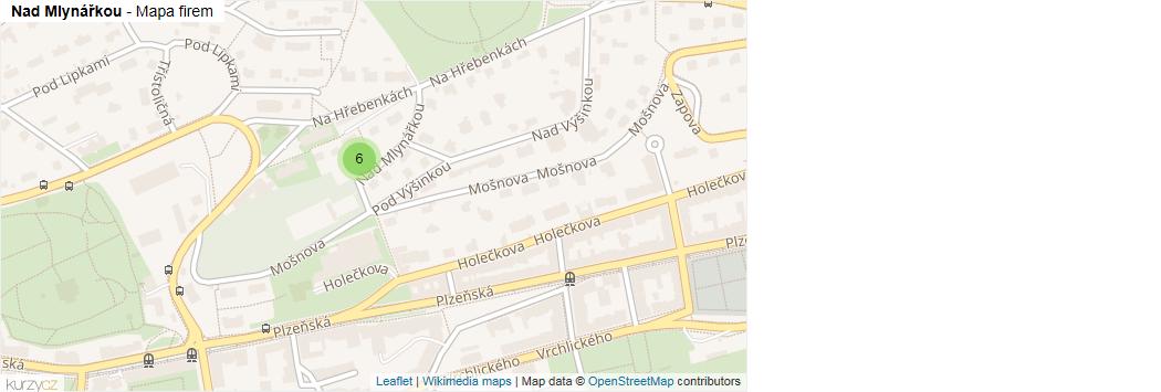 Nad Mlynářkou - mapa rozložení firem v ulici.