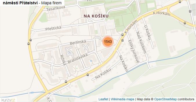 náměstí Přátelství - mapa rozložení firem v ulici.