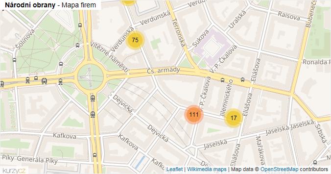 Národní obrany - mapa rozložení firem v ulici.