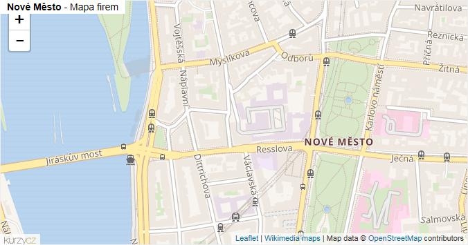 Nové Město - mapa rozložení firem v části obce.