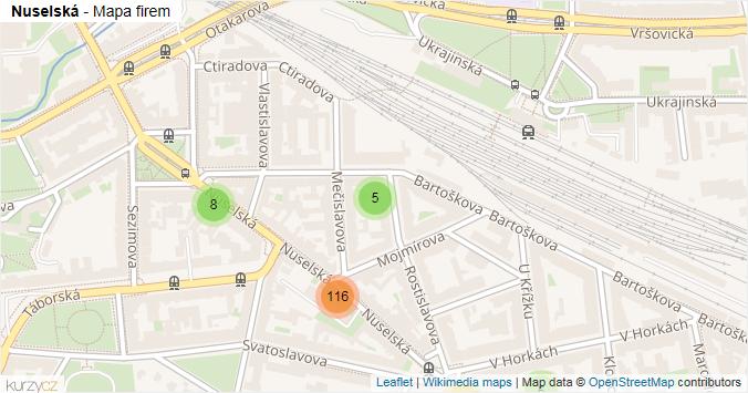 Nuselská - mapa rozložení firem v ulici.