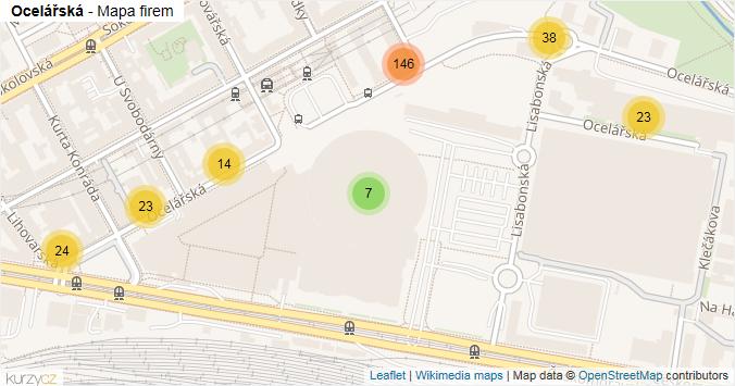 Ocelářská - mapa rozložení firem v ulici.