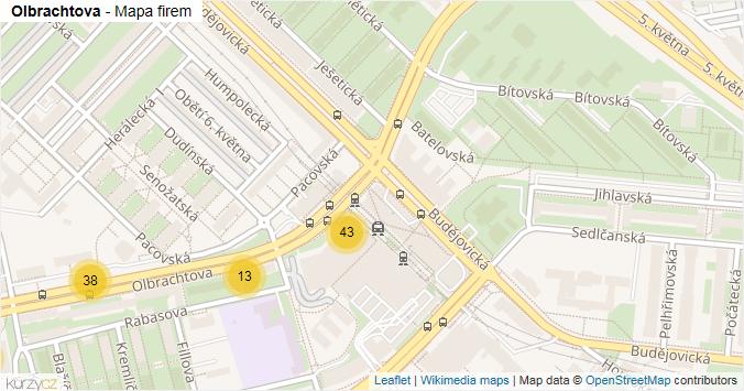 Olbrachtova - mapa rozložení firem v ulici.