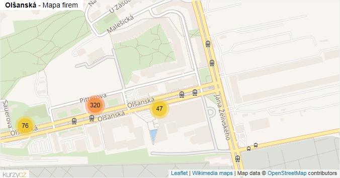Olšanská - mapa rozložení firem v ulici.