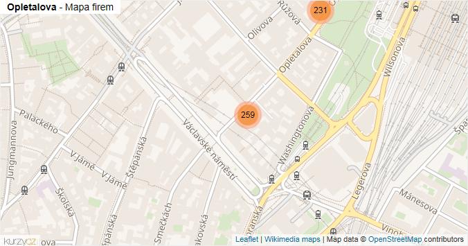 Opletalova - mapa rozložení firem v ulici.