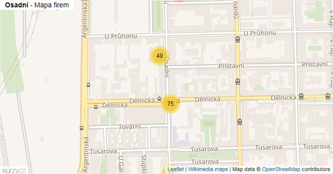 Osadní - mapa rozložení firem v ulici.