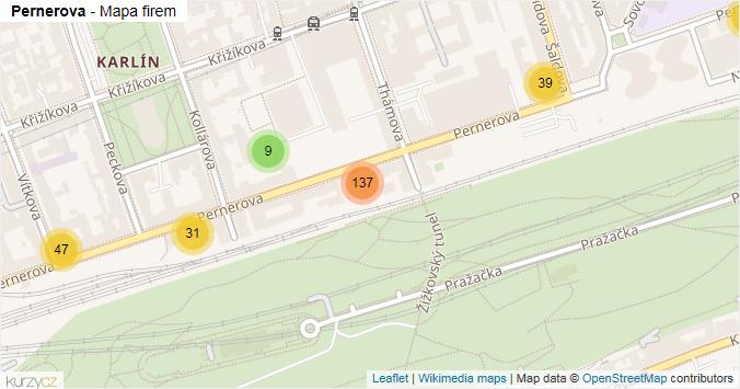 Pernerova - mapa rozložení firem v ulici.