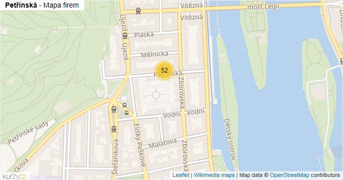 Petřínská - mapa rozložení firem v ulici.
