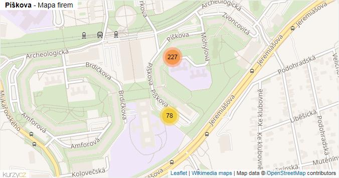 Píškova - mapa rozložení firem v ulici.