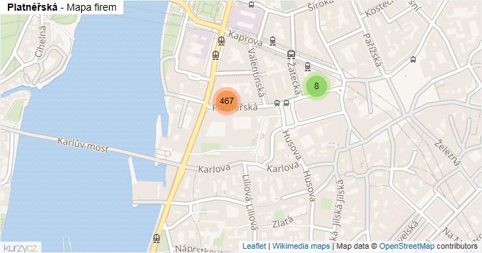 Platnéřská - mapa rozložení firem v ulici.