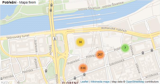 Pobřežní - mapa rozložení firem v ulici.