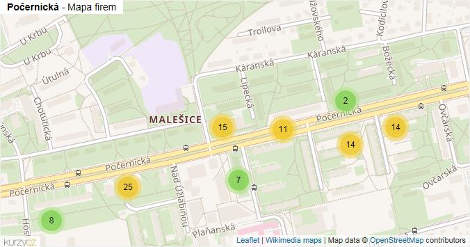 Počernická - mapa rozložení firem v ulici.