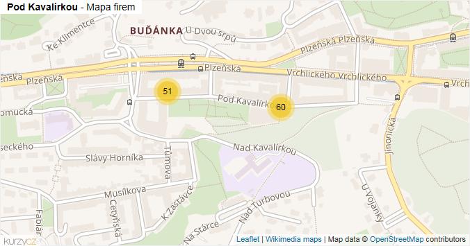 Pod Kavalírkou - mapa rozložení firem v ulici.