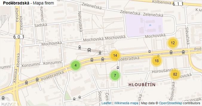 Poděbradská - mapa rozložení firem v ulici.