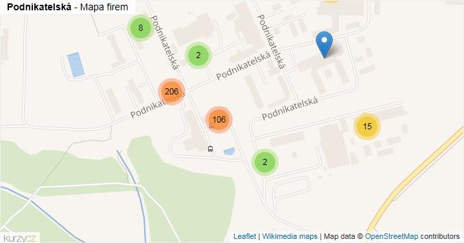 Podnikatelská - mapa rozložení firem v ulici.