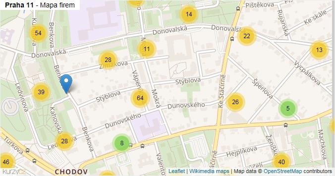 Praha 11 - mapa rozložení firem v městské části.