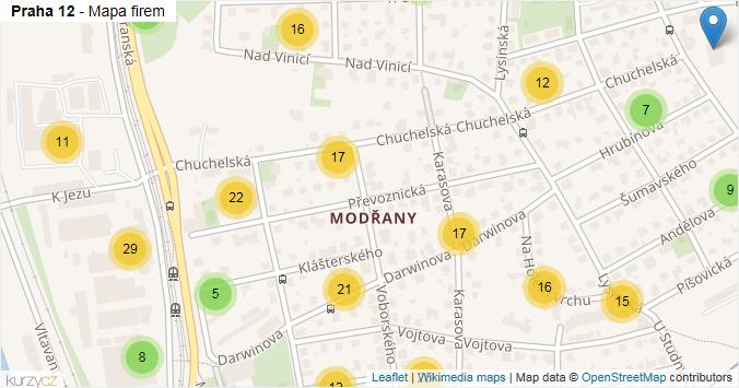 Praha 12 - mapa rozložení firem v městské části.
