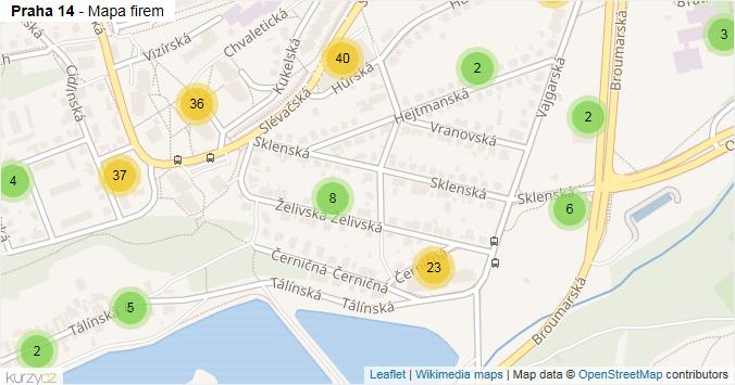 Praha 14 - mapa rozložení firem v městské části.