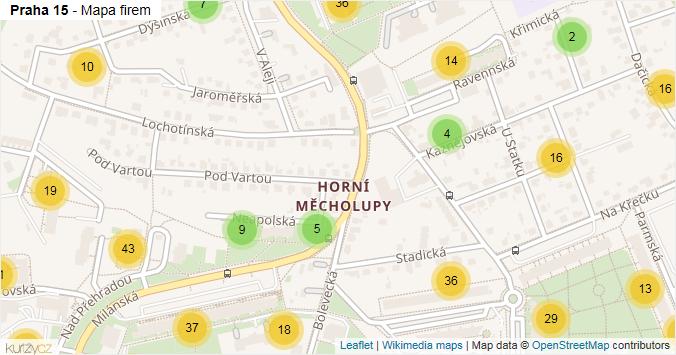 Praha 15 - mapa rozložení firem v městské části.