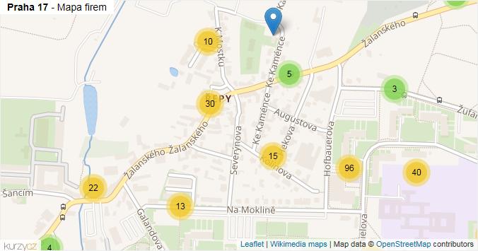 Praha 17 - mapa rozložení firem v městské části.