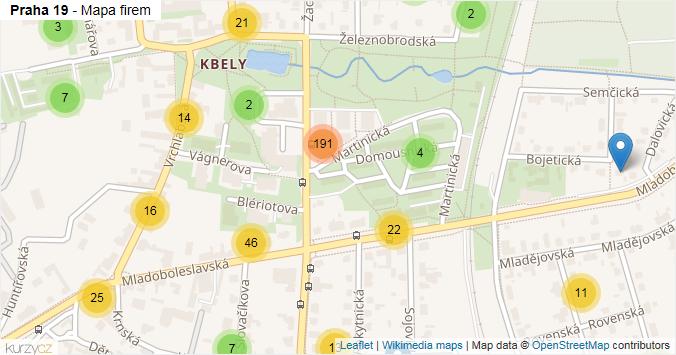 Praha 19 - mapa rozložení firem v městské části.