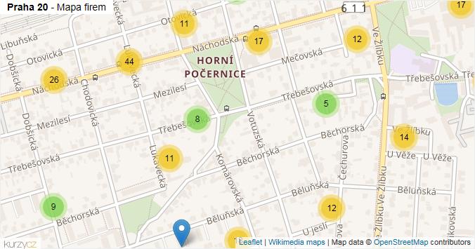 Praha 20 - mapa rozložení firem v městské části.