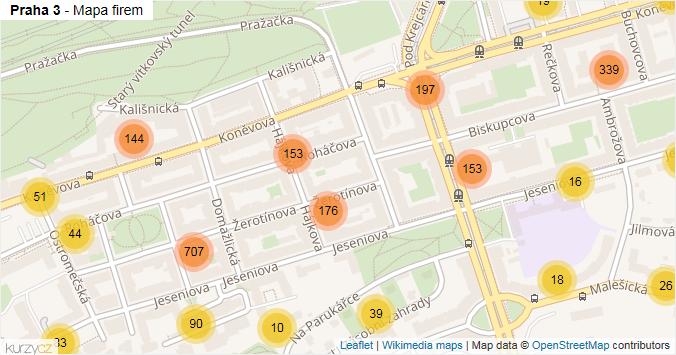 Praha 3 - mapa rozložení firem v městské části.