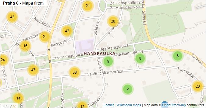Praha 6 - mapa rozložení firem v městské části.