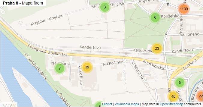 Praha 8 - mapa rozložení firem v městské části.