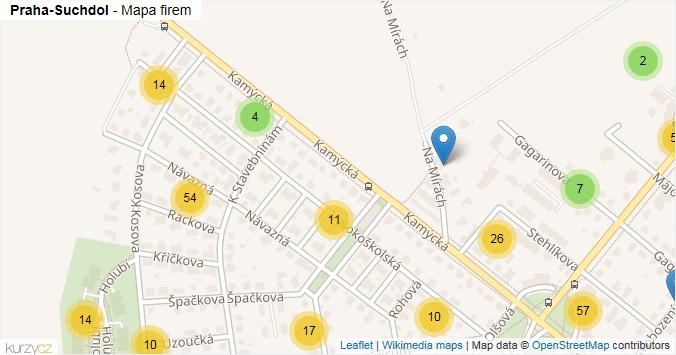 Praha-Suchdol - mapa rozložení firem v městské části.